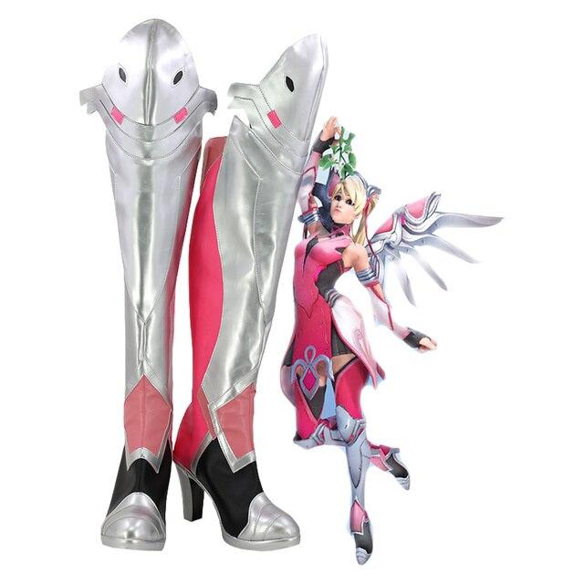 DÜŞÜK Merhamet Angela Ziegler Cosplay Ayakkabı Pembe Merhamet Cilt Cosplay Kostüm Ayakkabı Çizmeler Custom Made Avrupa Boyutu