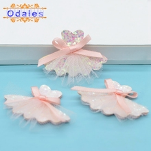 20Pcs Mesh Dress Patch Applique for Girls Hair Accessories DIY Kid Patches for Clothing Craft Sticker Pink Bow Tutu Patch Decor