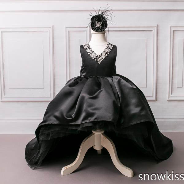 2018 black Arab style flower girl dresses with long train hi-lo v-neck rhinestones beaded appliques baby birthday pageant outfit2018 black Arab style flower girl dresses with long train hi-lo v-neck rhinestones beaded appliques baby birthday pageant outfit