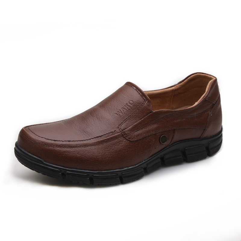WAKO Male Chef Leather Shoes for Kitchen Men Brown Shoes Super Non-slip Oilproof Cook Shoes for Restaurant Hospital Work Shoes slip-on shoe