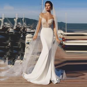 Image 3 - ชุดเดรสเมอร์เมด 2019 ปิดไหล่ลูกไม้ Appliques เปิดกลับ Boho งานแต่งงานชุดเจ้าสาว Vestido De Noiva