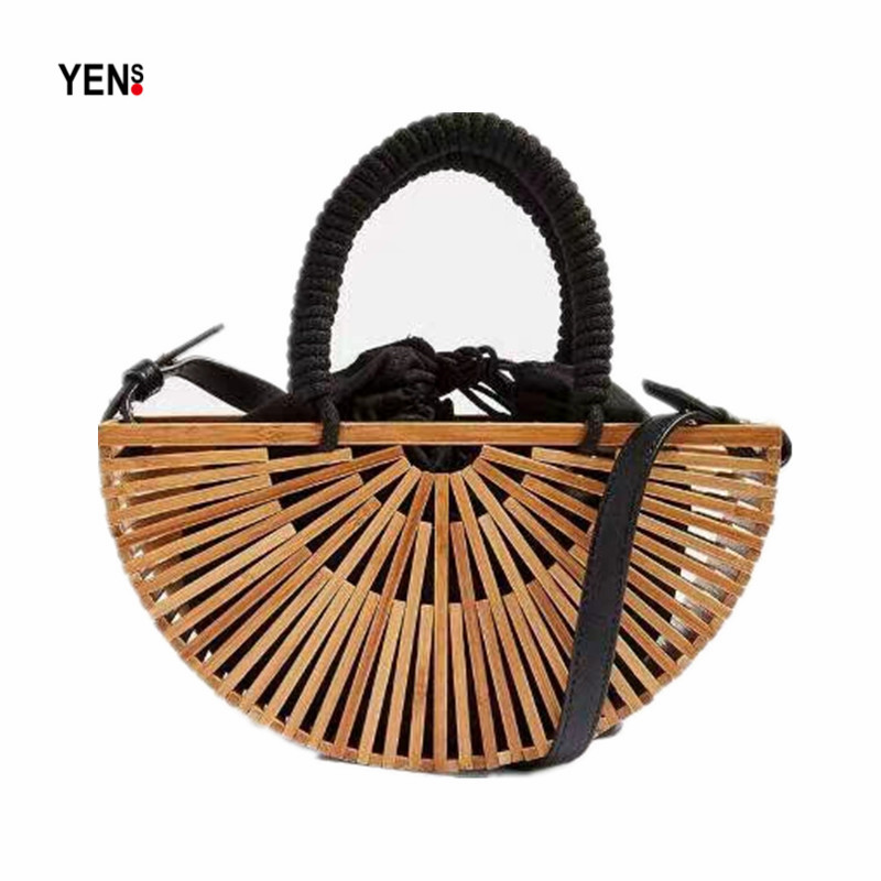 New Bamboo Basket Bag Women Handbag Designer Retro Half Moon Hollow Out Straw Bag Summer Wood Beach Bag Woven Rattan ShoulderBag