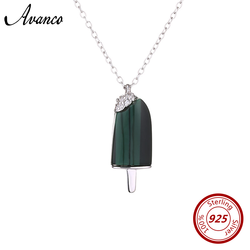 Avenco Natrual Stone Popsicle Shape Genuine 925 Sterling Silver Necklaces for Women 2019 Summer Ladies Pendant Necklace Jewelry