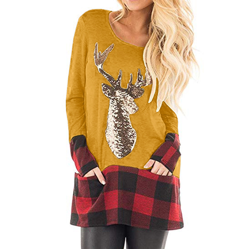 Plus Size Womens Christmas Tops Long Sleeve Plaid Pockets Santa Claus Print Splice Fashion Cute Tunic Blouse Shirts