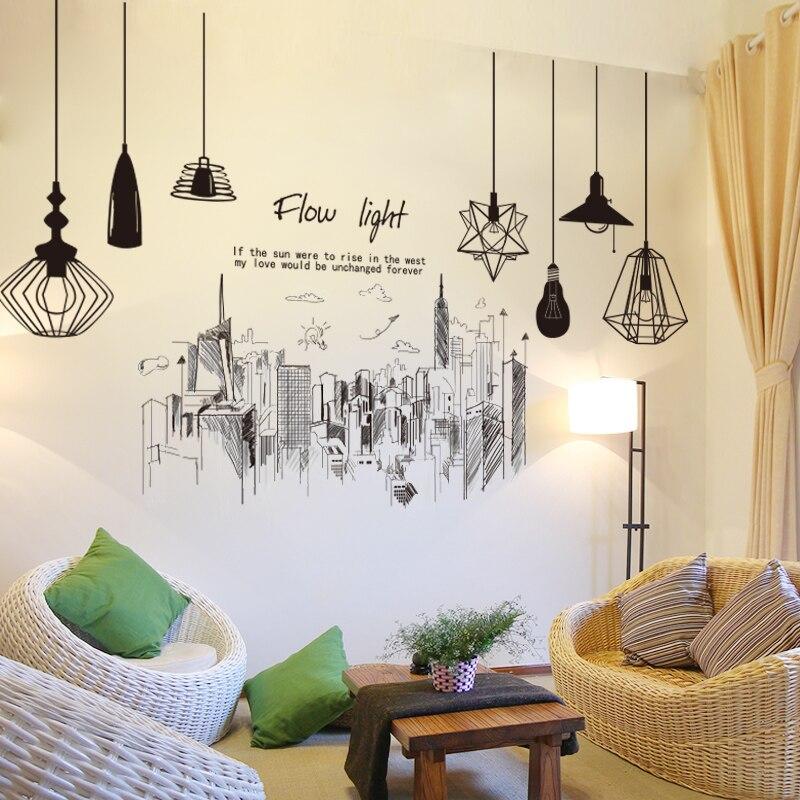 [SHIJUEHEZI] Moderne Hohe Gebäude Wand Aufkleber DIY Schwarz Farbe  Kronleuchter Wand Kunst Für Wohnzimmer Schlafzimmer Büro Dekoration