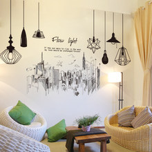 [SHIJUEHEZI] Modern Tall Buildings Wall Stickers PVC Material DIY Chandeliers Wall Art for Living Room Company Office Decoration(China)