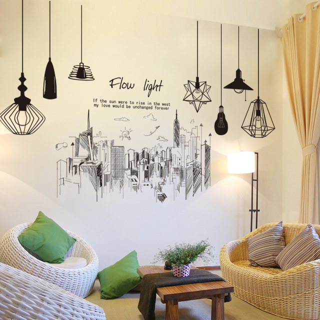 [SHIJUEHEZI] Tall Buildings Lamps Wall Stickers DIY Black Chandeliers Mural Decals for Living Room Bedroom Office Decoration