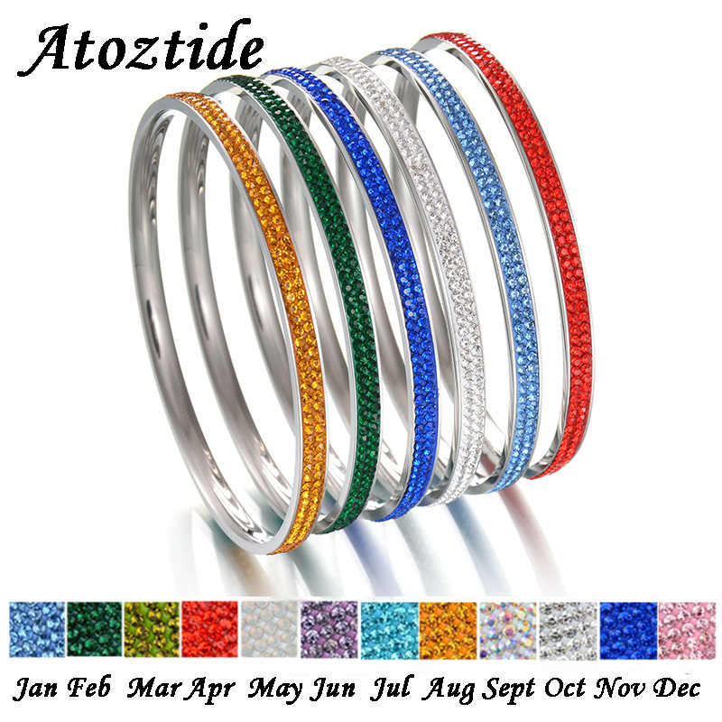 Atoztide Charm 12 สี Birthstones Shine 2 แถวคริสตัลกำไลข้อมือผู้หญิง Rhinestone สแตนเลสสตีลรอบสร้อยข้อมือของขวัญ
