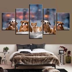 Модульная Hd Печать холст фотографии 5 шт. украшение дома милый кот и собака картинки с животными плакат картина на стене в рамке гостиной