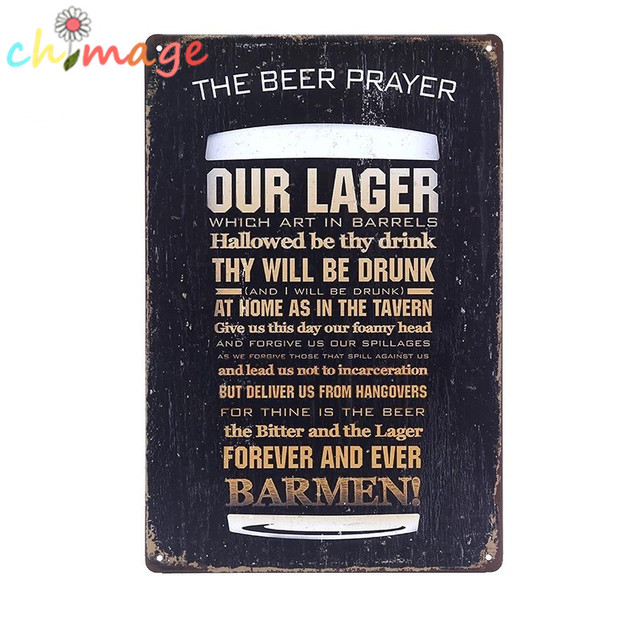 The Beer Prayer Our Large Vintage Tin Sign Bar Pub Home Wall Decor Retro Metal Art