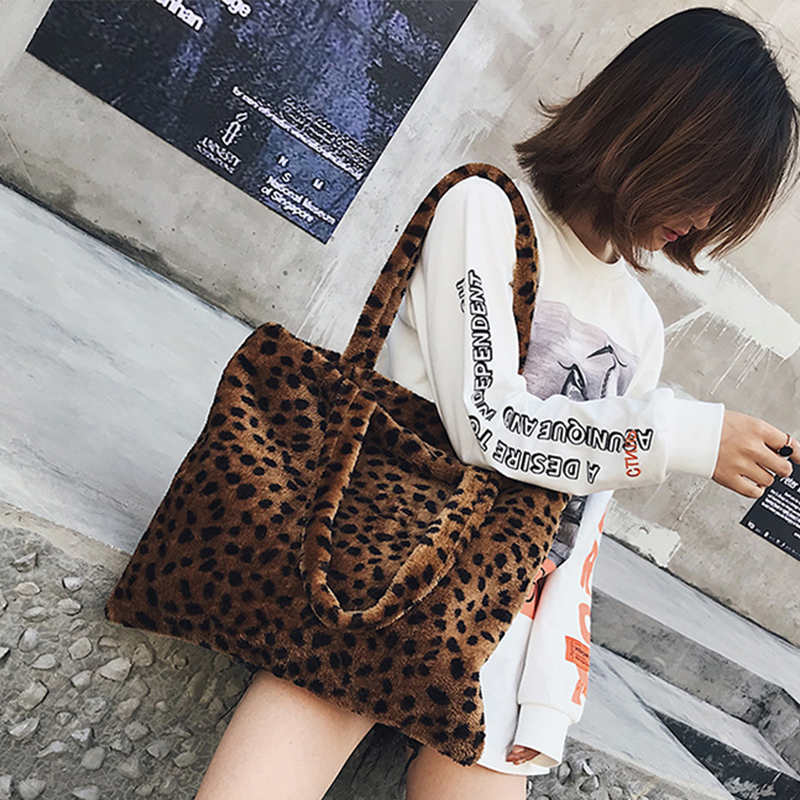 Vintage Fashion Women tote Bag faux fur Day High Quality velvet Women Shoulder Bag Handbag Faux Fur Plush Cony Hair Female