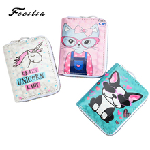 2019 New PU Leather Kid's Wallet Cartoon Coin Purse Girl Cute Card Holder Female Clutch Child Short Purse Bow Key Bag short cute cartoon snow cat women s wallet coin purse high quality trifold bags for teenagers girl female ladies clutch card bag