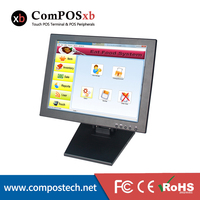 Free Shipping 15 Inch VGA TFT Lcd Touch Screen Monitor With POS Base With 5 Wire
