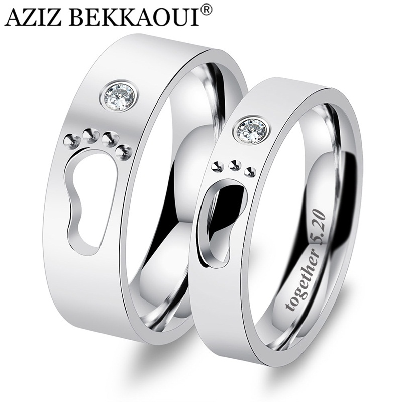 Couple Rings Promise-Bands Wedding-Jewelry Engrave Name Baby-Feet Stainless-Steel Footprints