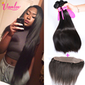 Brazilian Virgin Hair Straight With Lace Frontal Closure 4 Bundles Brown Brazilian Straight Hair With Closure 13x4 Lace Frontal