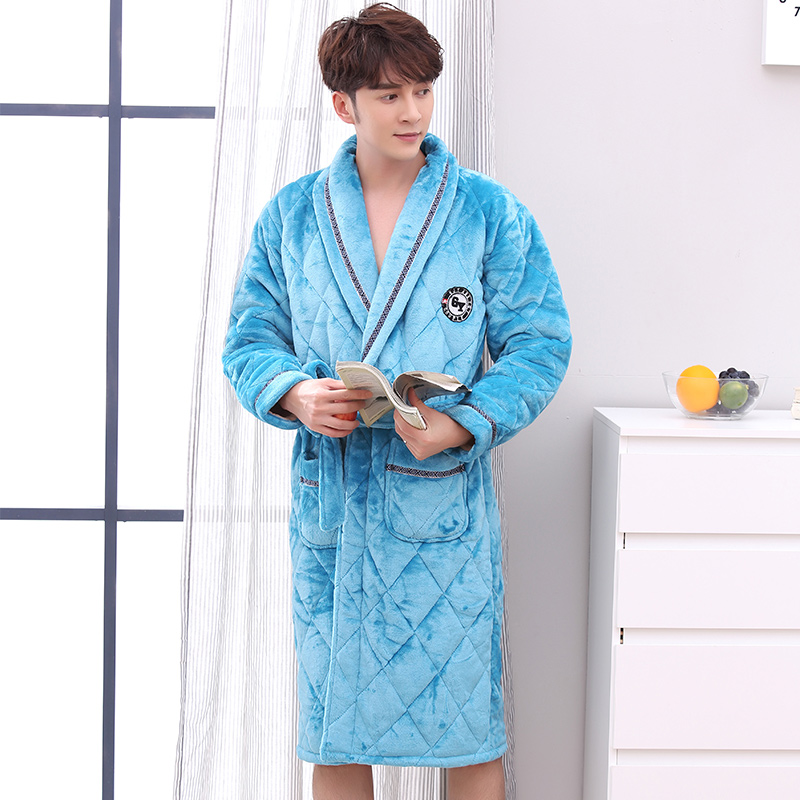 J&Q Male Robes Winter Bathrobes Plus Size Velvet+cotton Padded Men's Robe Long Sleeves Thick Warm Lapel Home Wear Solid Men Robe