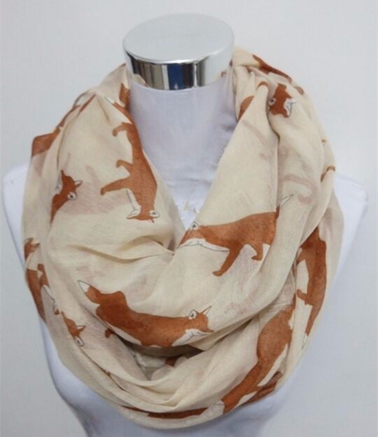 Fox Print Infinity Scarf | Lightweight Scarves