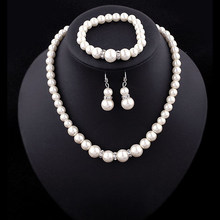 Jewelry Set Simulated-Pearl Necklace Bracelet Earrings Women Jewelry Sets Inlay CZ Bride Set(China)