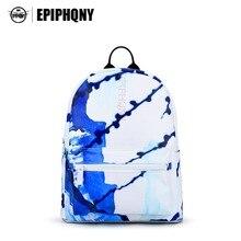 Epiphqny бренд Для женщин простой белый рюкзак абстрактный синий в горошек плечо школьные шаблон полоса печати bagpacks модные Дизайн