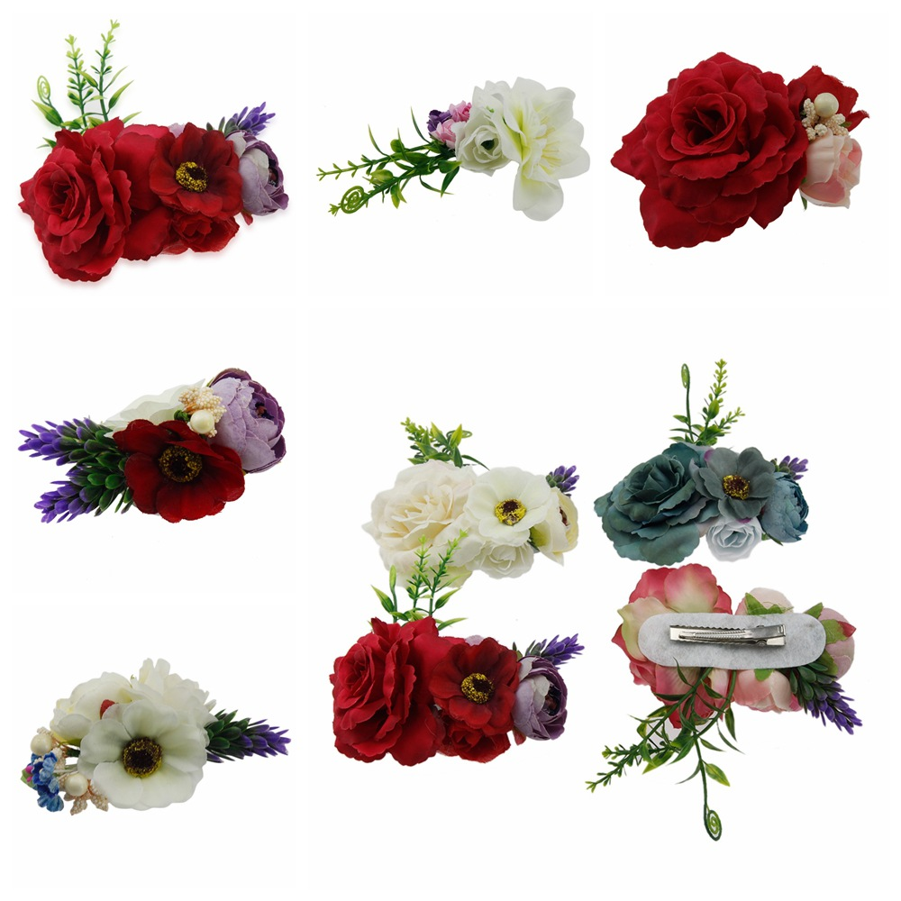 Fashion simulation flowers hair clips Handmade Photography props hairpin Children hair accessories Wedding Bride Beach   headwear