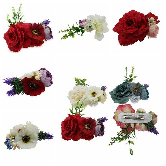 913cc7b51 Fashion simulation flowers hair clips Handmade Photography props hairpin  Children hair accessories Wedding Bride Beach headwear