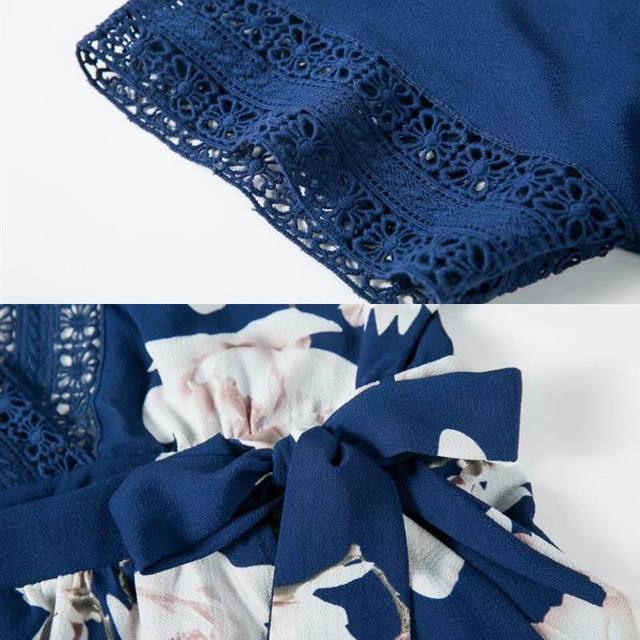 yinlinhe Short Sleeve Floral Summer Playsuit Blue Lace Hollow Out Backless Jumpsuit Women V neck Beach Boho Elegant Rompers 347 5