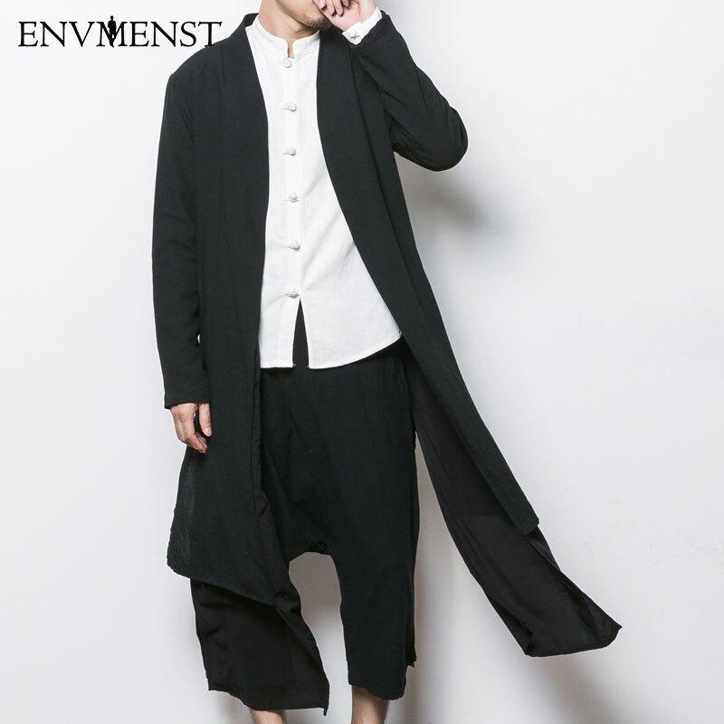 2017 China style men's trench jacket male spring autumn kimono ...