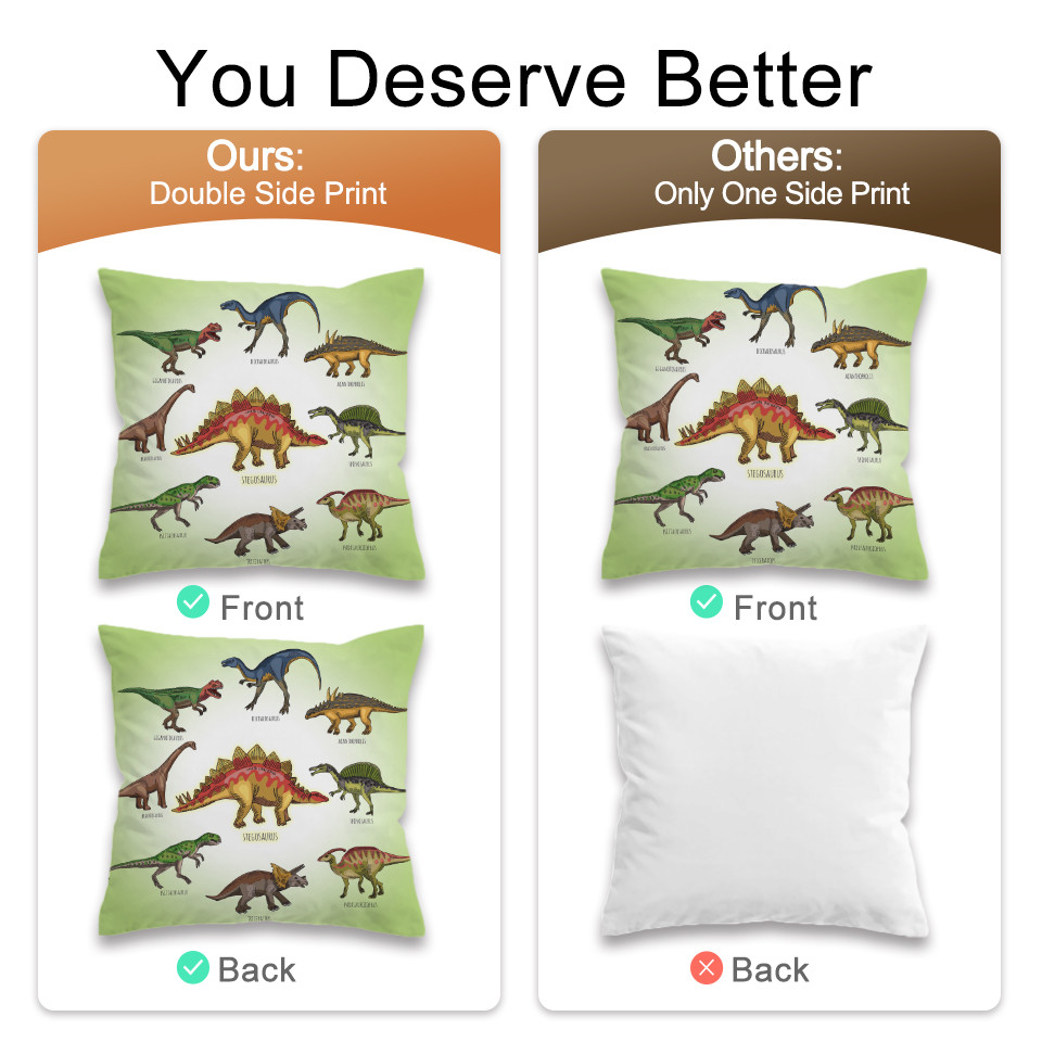 BeddingOutlet Dinosaur Family Cushion Cover Kids Cartoon Pillow Case Cover Boys Decorative Pillowcase Jurassic Bedding for Sofa