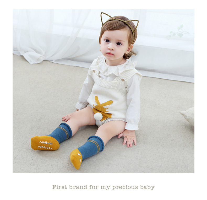 0-2Y Winter Baby Girl Boy Cotton Warm Thickness Knee Socks Children Kids Terry Loose Top Anti-slip Middle Tube Sox 3pairs/Lot 11