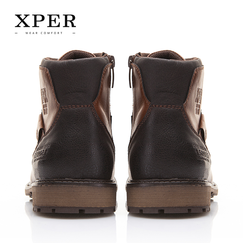 XPER Automne Hiver Hommes Bottes Grande Taille 40-48 Vintage Style Hommes Chaussures Casual Mode Haute-Cut Dentelle-up Chaud Hombre # XHY12504BR - 4