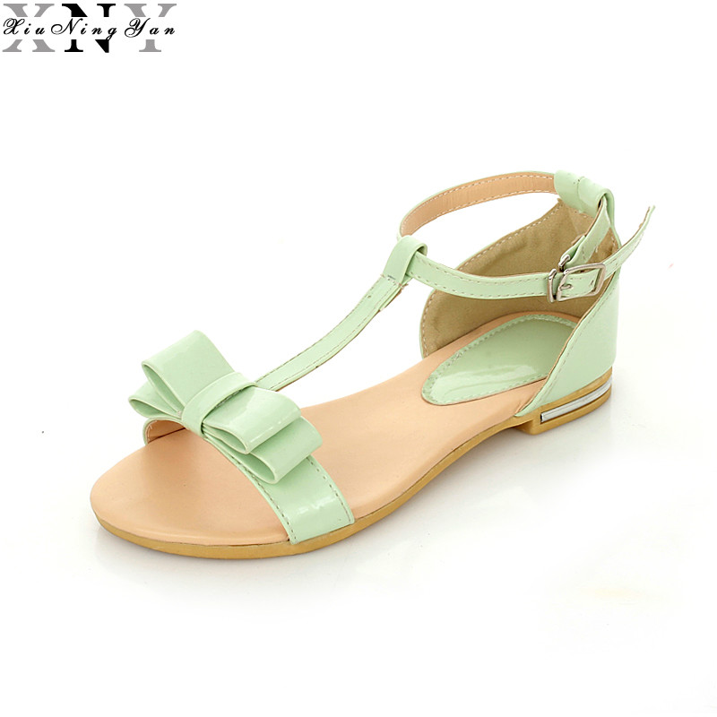 2017 New Arrival Hot Sale Fashion Summer Sweet Women Flats Heel Sandals Pu Leather Casual Buckle Strap Shoes for Women  13/30 size 30 43 woman ankle strap high heel sandals new arrival hot sale fashion office summer women casual women shoes p19266