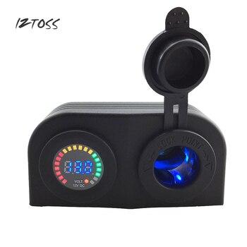 IZTOSS 12V24V машинная Зажигалка для сигарет Мощность гнездо Цвет DC12V Вольт вольтметр мотоцикл автомобильный прикуриватель синий Мощность адапт...