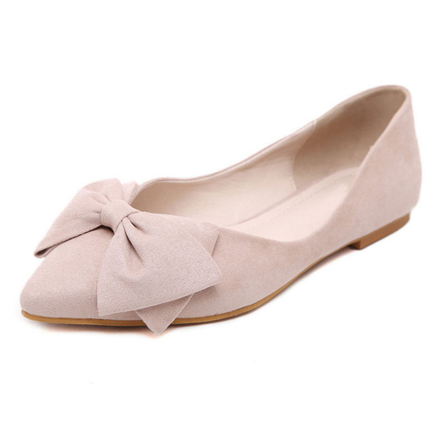 Plus Size 35-43 Women's Ballet Flats Pointed Toe Big Bowtie Flock Flats lady single shoes flat casual loafers shoes XK022107