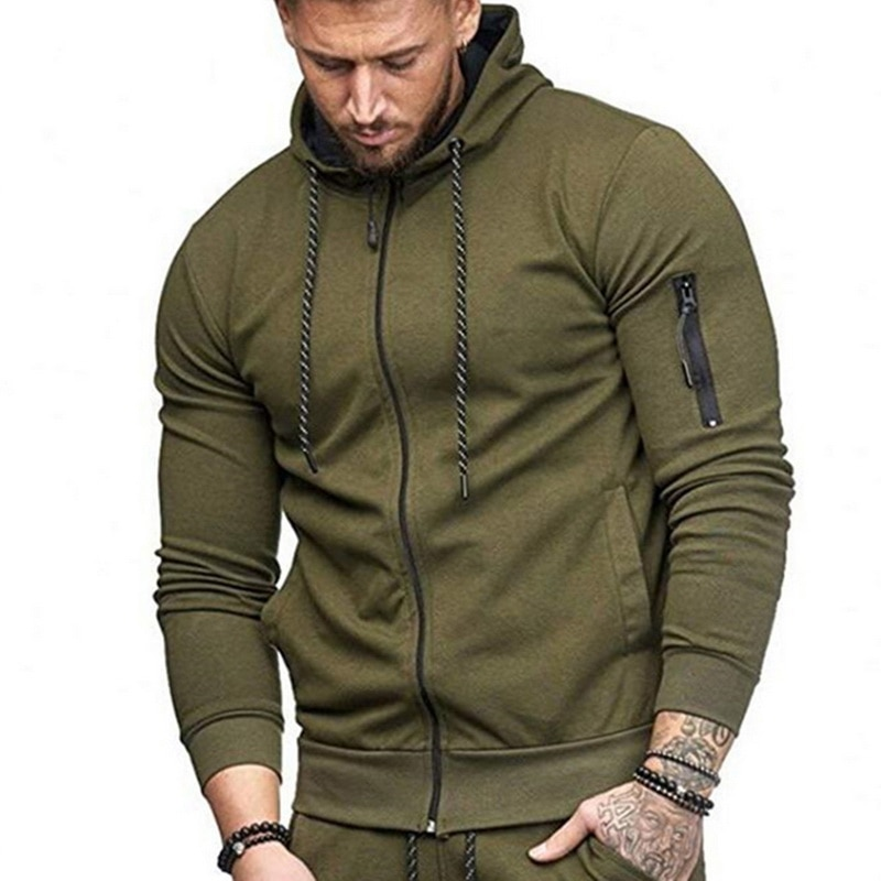 HTB1C8a6aEvrK1RjSszfq6xJNVXa8 HEFLASHOR Men Drawstring Sportwear Set Fashion Solid Sweatshirt&Pants Tracksuit Casual Zipper Hoodies Outwear Clothes 2019