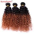 Extensões de Cabelo 6A Ombre Mongolian Kinky Curly Virgem Cabelo 3 Pcs Dois Tons 1B/30 Ombre Cabelo Humano Mongol tecer Feixes Venda