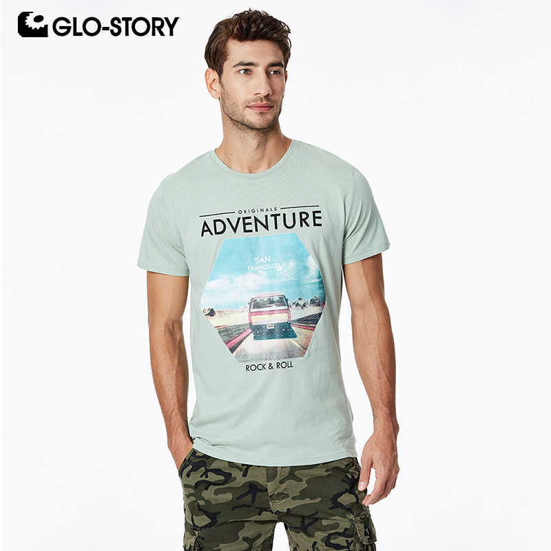 GLO-STORY Men's 2019 Basic O-neck Rock Fashion Print Tee Shirts Men Casual Streetwear Summer Short Sleeve T Shirt Tops MPO-8636