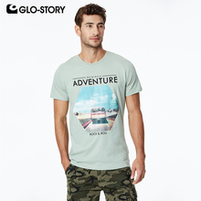 GLO-STORY Mens 2019 Basic O-neck Rock Fashion Print Tee Shirts Men Casual Streetwear Summer Short Sleeve T Shirt Tops MPO-8636