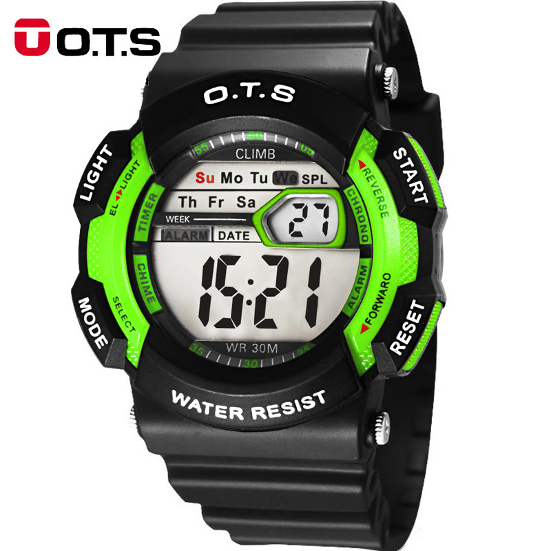 OTS Kids Sport Brand Children Outdoors Waterproof Silicone Fashion Children Girls Boy Digital Led Quartz Alarm Date Wristwatch