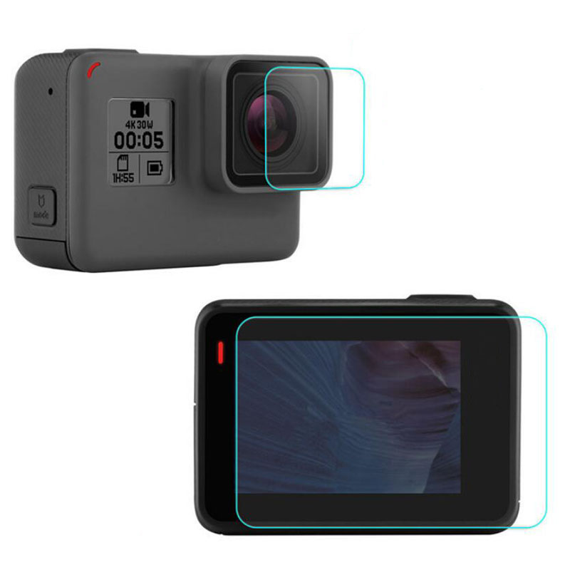 Tempered Glass Protector Cover Case For GoPro Go pro Hero5 Hero 5 Black Front Camera Lens LCD Screen Ultra Clear Protective Film original homtom ht3 pro package gift tempered glass film protective cover