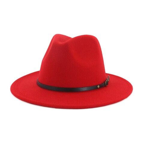QIUBOSS Black Red Patchwork Wool Felt Jazz Fedora Hats Belt Buckle Decor Women Unisex Wide Brim Panama Trilby Cowboy Cap Sunhat Multan