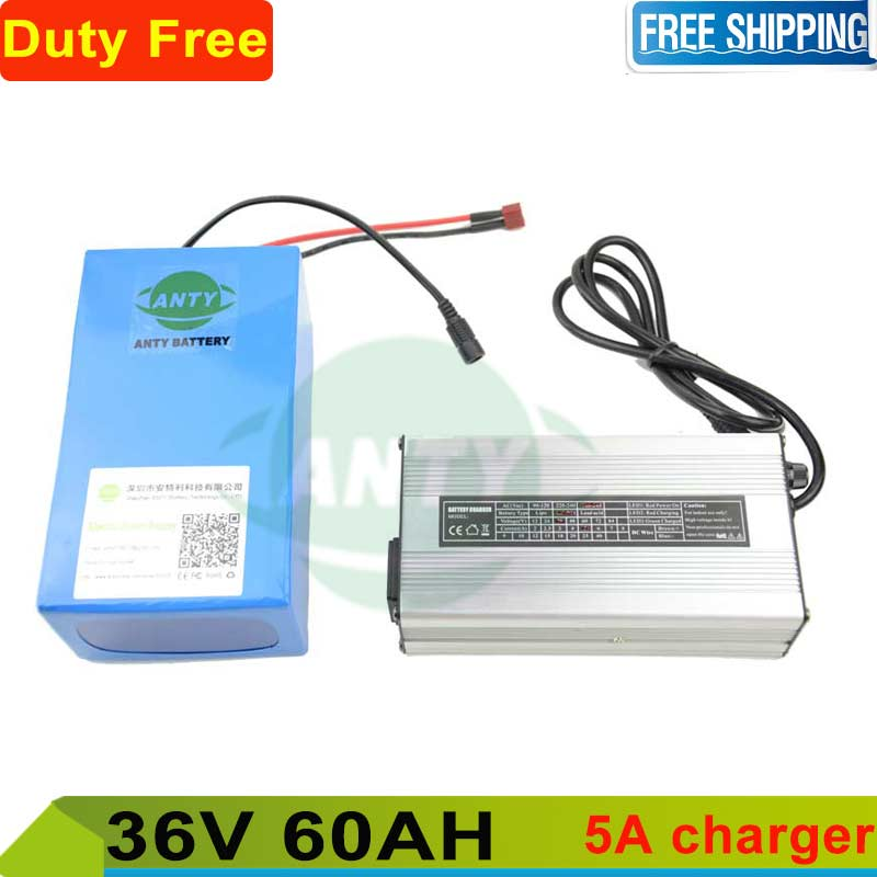 60Ah Battery 36v 2000w Rechargeable battery 36v lithium battery pack with 5A charger + BMS ebike battery Free shipping and Duty free customs taxes super power 1000w 48v li ion battery pack with 30a bms 48v 15ah lithium battery pack for panasonic cell