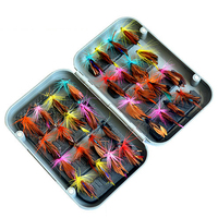 32 unids Con Caja de Moscas de Pesca Atraer A los Establecidos de Insectos Estilo Peces Carpa Señuelo Artificial Cebo de Pesca Plumas Anzuelos Simples