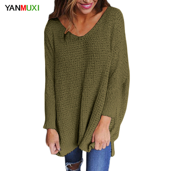 V Neck Winter Sweater Tops Women 2017 Autumn Long Sleeve Green Pullovers Elegant Loose Female Sweater Women Clothing
