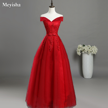 ZJ7027 Sexy Off Shoulder Lace Long Red Pink Prom Dresses 2018 Formal Party Dress For Graduation Plus Size Customer Made