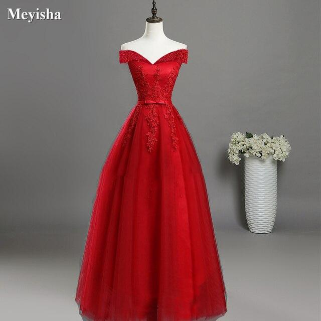 ZJ7027 סקסי כבוי כתף תחרה ארוך אדום ורוד שמלות נשף 2018 פורמליות המפלגה שמלת סיום בתוספת גודל לקוחות Made