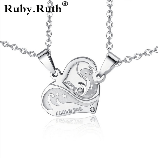 Hot sell personalized Stainless Steel Heart Shape Puzzle  Couple Pendant Engagement Necklace for valentines romantic gift