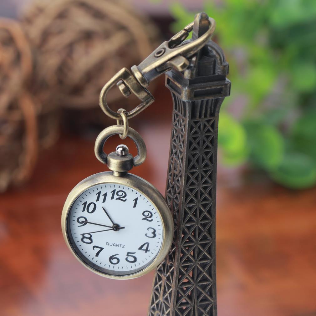 1pc Retro Bronze Quartz Vintage Pocket Watch Movement Keychain Keyring Watch Pocket Watch Round Dial Relogio Masculino 2017