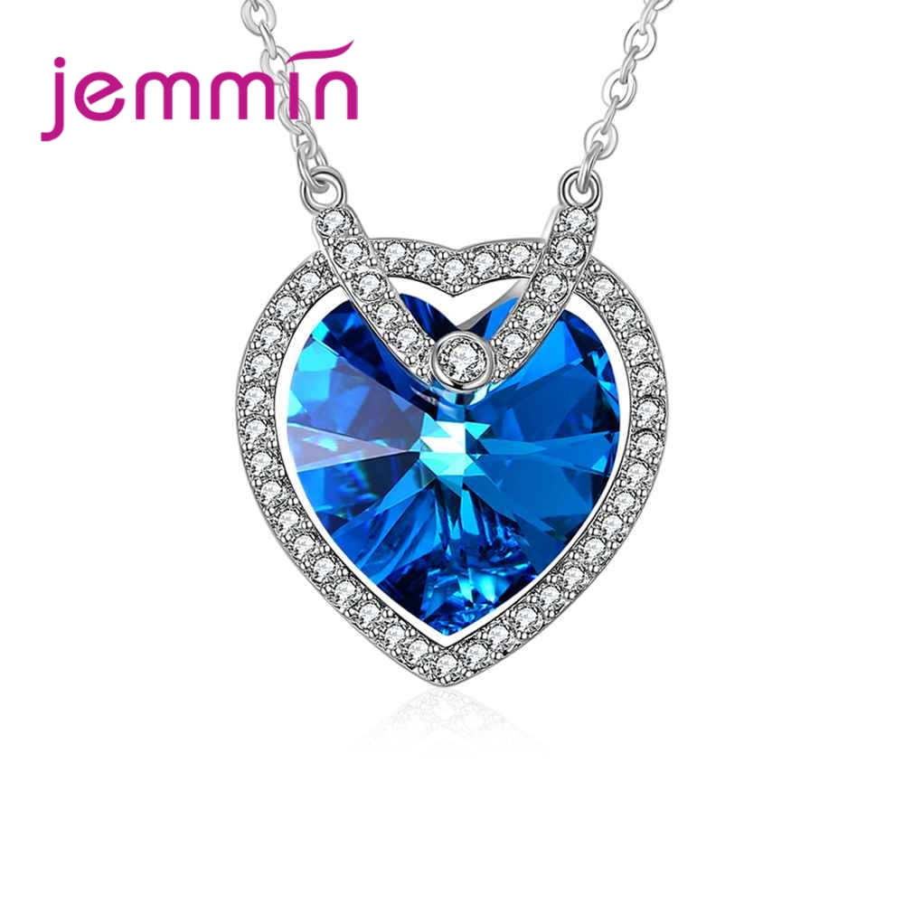 JEMMIN Luxury Charming Heart Shape Blue CZ Pendant 925 Sterling Silver Necelace Gorgeous Women Wedding Jewelry Romintic GiftJEMMIN Luxury Charming Heart Shape Blue CZ Pendant 925 Sterling Silver Necelace Gorgeous Women Wedding Jewelry Romintic Gift