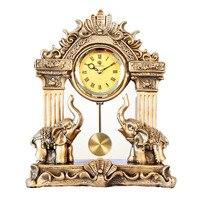 Silent mantel clock house elephant pendulum vintage quartz table clock living room creative table sculptures room