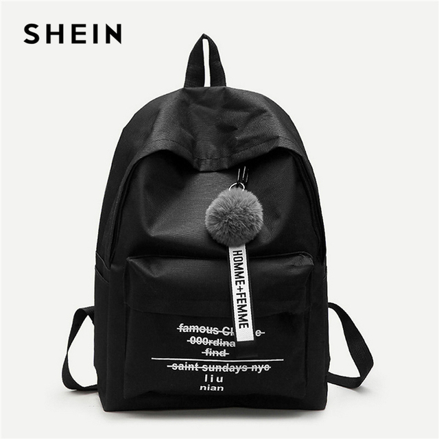 20f4964b89 SHEIN Black Pom Pom Decor Backpack Modern Lady Detail Zipper Cute Bags  Women Letter Print New